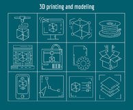 Printing and modeling Vector set of linear icons. 3d Printing and modeling Vector set of linear icons Stock Photos