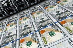 Printing Money 100 Dollar Bills. 3d Rendering. Printing Money 100 Dollar Bills extreme closeup. 3d Rendering Stock Photo