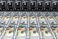 Printing Money 100 Dollar Bills. 3d Rendering Royalty Free Stock Image