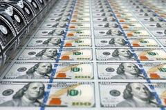 Printing Money 100 Dollar Bills. 3d Rendering. Printing Money 100 Dollar Bills extreme closeup. 3d Rendering Stock Photography