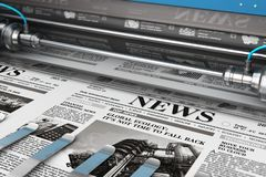 Printing newspapers in typography royalty free illustration