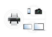 Printing options. set of electronics. illustration Royalty Free Stock Photo