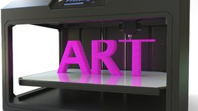 Printing pink ART text with a 3D printer, 3D rendering. Printing pink ART text with a 3D printer Stock Images