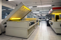 Printing plant - Flexographic printing plates. Printing Plant - Machine for exposing flexographic printing plates with UV-A LEDs royalty free stock images