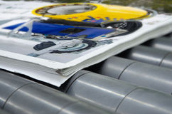 Printing plant magazine line binding process, convayer belt Royalty Free Stock Photo