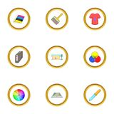 Printing polygraphy icons set, cartoon style. Printing polygraphy icons set. Cartoon style set of 9 printing polygraphy vector icons for web design Stock Photography