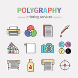 Printing polygraphy infographic. Line icons. Printing elements. Vector poster Stock Image