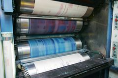 Printing press. During work - Press of the newspaper royalty free stock images
