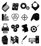 Printing press icons set Stock Images