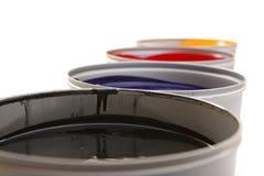 Printing press inks, cyan, magenta, yellow Stock Photo