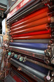 Printing Press rollers. Red printing Press rollers studio light stock photography