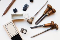 Printing press tools Royalty Free Stock Photography