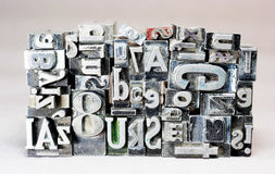 Printing Press Typeset Typography Text Letters Stock Photography