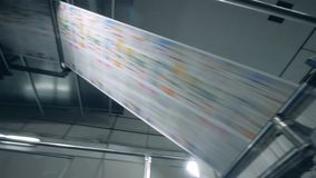 Printing production, newspaper on a modern conveyor. 4K stock video