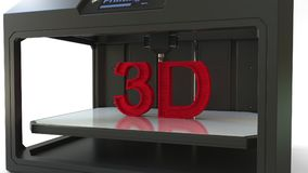 Printing red letters with a 3D printer, 3D rendering. Printing red letters with a 3D printer Royalty Free Stock Photos