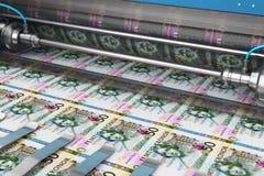 Printing 50 SEK Swedish krona money banknotes. Business success, finance, banking, accounting and making money concept: 3D render illustration of printing 50 SEK stock illustration