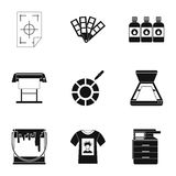Printing services icons set, simple style Stock Photo