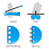 Printing shop services blue icons set. Part 7 Royalty Free Stock Photos
