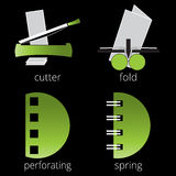 Printing shop services green icons set. Part 7 Stock Images