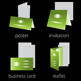 Printing shop services green icons set. Part 2 Stock Photography