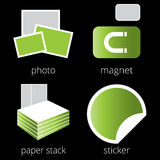 Printing shop services green icons set. Part 5 Stock Images