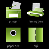 Printing shop services green icons set. Part 6 Stock Photo