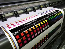 Test printed color swatch on wide format digital printer Royalty Free Stock Image