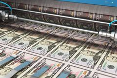Printing 50 US dollar USD money banknotes. Business success, finance, banking, accounting and making money concept: 3D render illustration of printing 50 US royalty free illustration