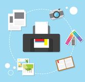 printing vector trendy design concept, modern flat Royalty Free Stock Images