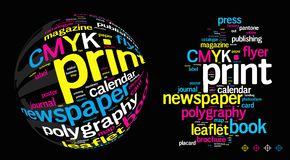 Printing Word Cloud Stock Photography