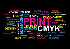 Printing Words Collage. A collage of different words connected to printing business on black background. Colourful tag cloud concept Stock Photography