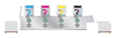Printingmaskin - offset- tryckpress Arkivfoto