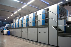 Printingväxt - offset- pressmaskin Arkivfoto
