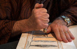 Printmaking. The ancient japanese woodblock printmaking called Moku Hanga royalty free stock images