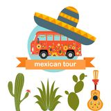 PrintMexican bus tour. Cartoon hippie bus on a cactus background. Royalty Free Stock Photography