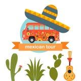 PrintMexican-Busausflug Karikaturhippiebus auf einem Kaktushintergrund lizenzfreie abbildung