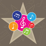 PrintMusic note icon on star background Stock Photos