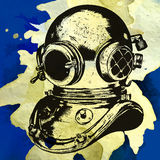 PrintObsoled diving equipment, vector hand drawn poster Royalty Free Stock Photo