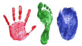 Printout of hand, foot and finger Royalty Free Stock Photography