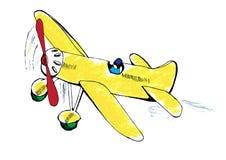 Printpencil нарисованное желтого самолета иллюстрация Стоковое Изображение