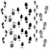Prints. Boot, Foot And Hand Prints Stock Photography