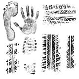 Prints. Black ink foot, hand, shoe sole, car and bike tire tread prints. Isolated objects at white background Royalty Free Stock Photography