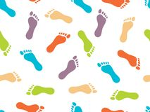 The prints of bare feet on white background. Seamless pattern. Bright color picture. Vector illustration.  royalty free illustration