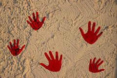 prints of bloody hands on wall royalty free stock image