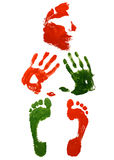 Prints Face hands and foots. On Wite Background Royalty Free Illustration