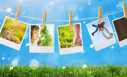 Prints with family. Prints with happy family outdoors Stock Image