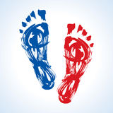 Prints of foots of the human Royalty Free Stock Image