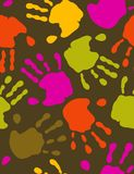 Prints of hands. Seamless pattern in trendy color palette (vector Royalty Free Stock Photos