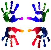 Prints of hands of the boy. Isolated Royalty Free Stock Images