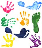 Prints of hands of the boy Royalty Free Stock Images